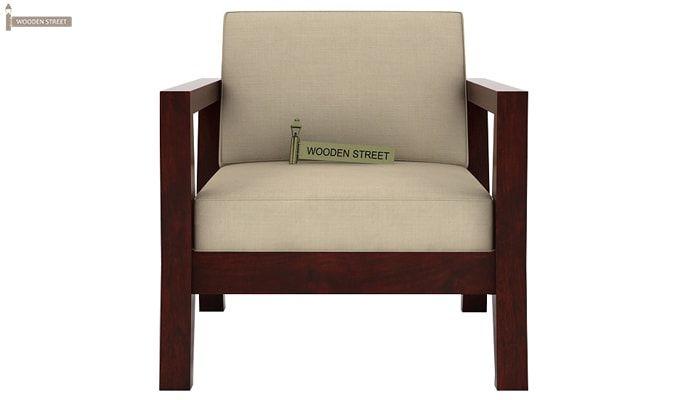 Hugo 1 Seater Wooden Sofa (Mahogany Finish)-2