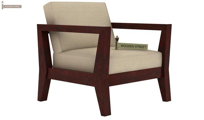 Hugo 1 Seater Wooden Sofa (Mahogany Finish)-3