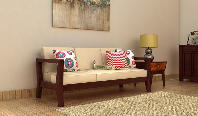 Hugo 3 Seater Wooden Sofa (Mahogany Finish)-1