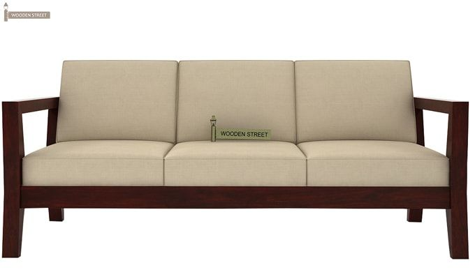 Hugo 3 Seater Wooden Sofa (Mahogany Finish)-2