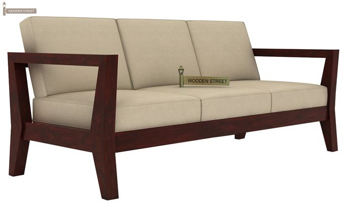 Hugo 3 Seater Wooden Sofa (Mahogany Finish)-3