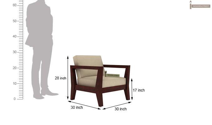 Hugo 1 Seater Wooden Sofa (Mahogany Finish)-4