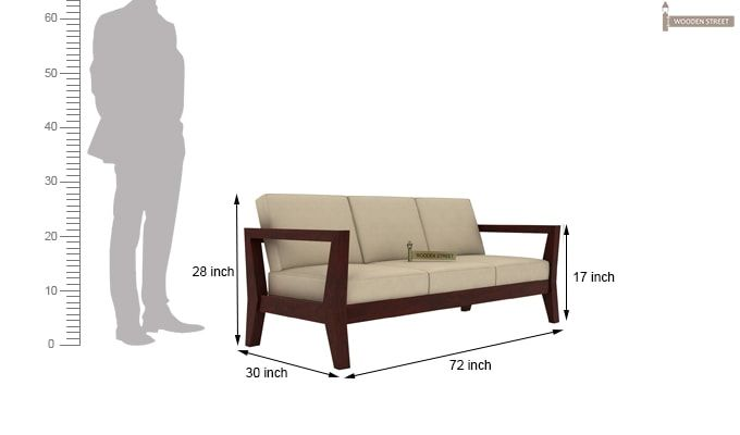 Hugo 3 Seater Wooden Sofa (Mahogany Finish)-4