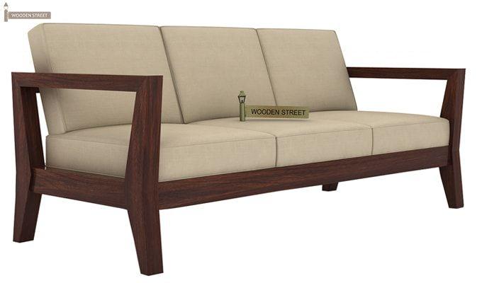 Hugo 3 Seater Wooden Sofa (Walnut Finish)-1