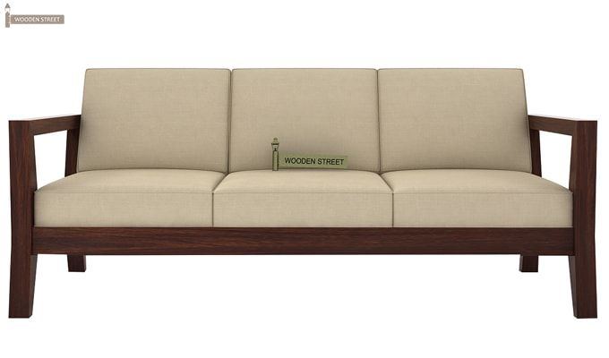 Hugo 3 Seater Wooden Sofa (Walnut Finish)-2