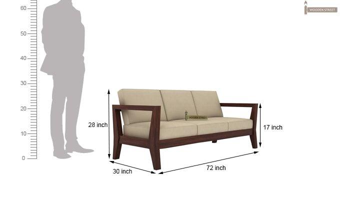 Hugo 3 Seater Wooden Sofa (Walnut Finish)-3