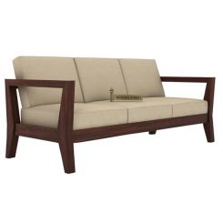 Hugo 3 Seater Wooden Sofa (Walnut Finish)