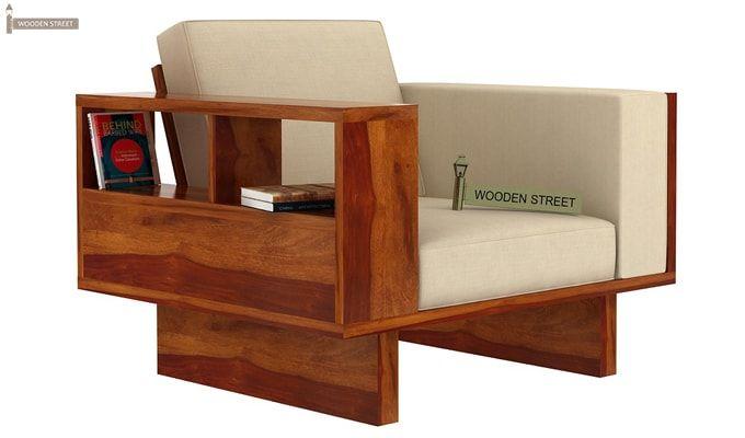Lannister 1 Seater Wooden Sofa (Cream, Honey Finish)-1
