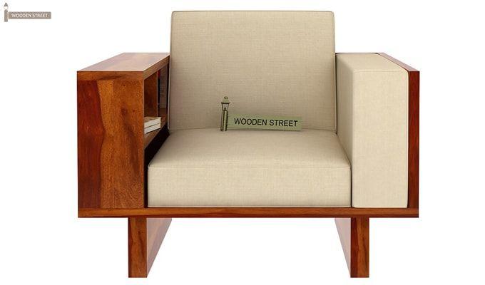Lannister 1 Seater Wooden Sofa (Cream, Honey Finish)-2