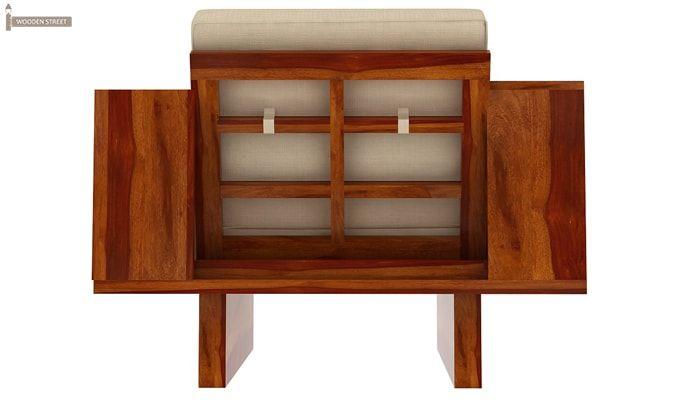 Lannister 1 Seater Wooden Sofa (Cream, Honey Finish)-3