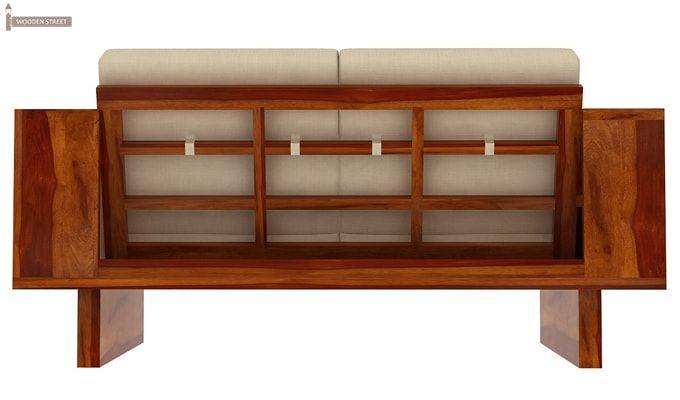 Lannister 3 Seater Wooden Sofa (Cream, Honey Finish)-3