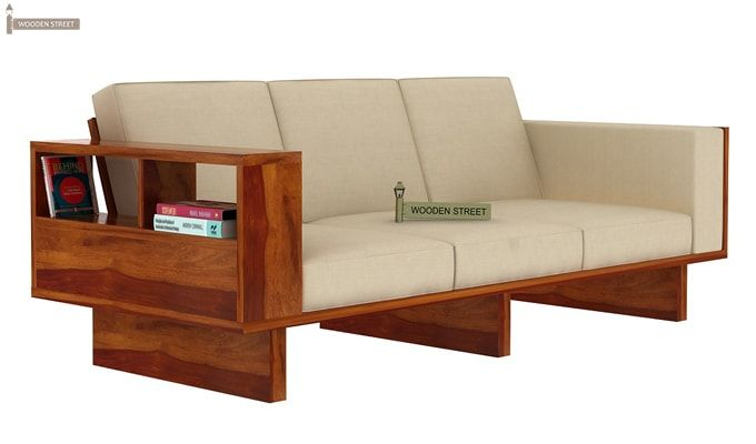 Lannister 3 Seater Wooden Sofa (Cream, Honey Finish)-1