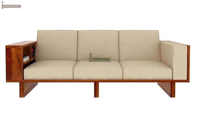 Lannister 3 Seater Wooden Sofa (Cream, Honey Finish)-2