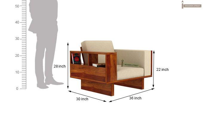 Lannister 1 Seater Wooden Sofa (Cream, Honey Finish)-4
