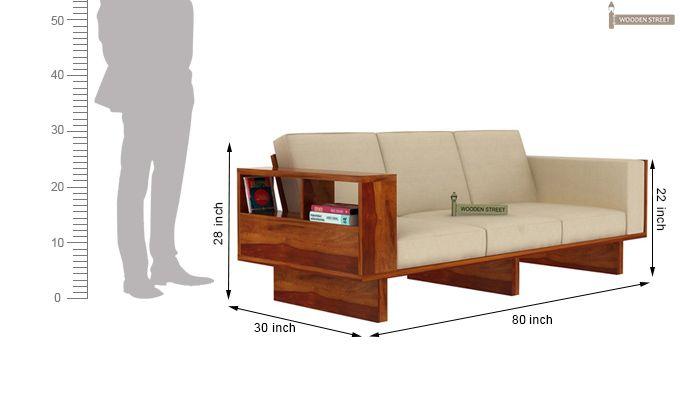 Lannister 3 Seater Wooden Sofa (Cream, Honey Finish)-4