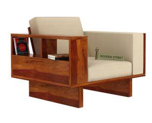 Lannister 1 Seater Wooden Sofa (Cream, Honey Finish)