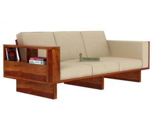 Lannister 3 Seater Wooden Sofa (Cream, Honey Finish)