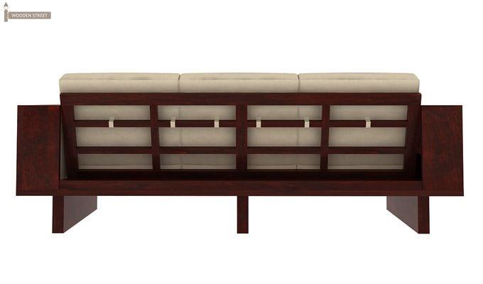 Lannister 3 Seater Wooden Sofa (Cream, Mahogany Finish)-4