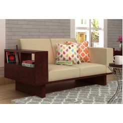 Lannister 2 Seater Wooden Sofa (Cream, Mahogany Finish)