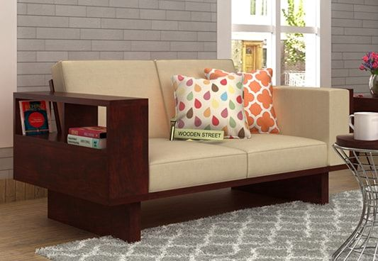 Wooden 2 Seater Sofa with Storage
