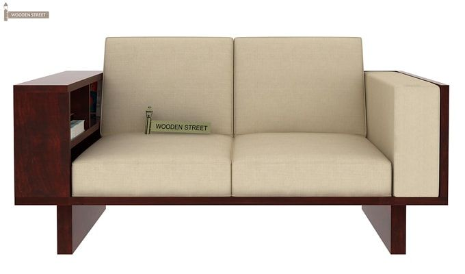 Lannister Wooden Sofa 2+1+1 (Cream, Mahogany Finish)-5