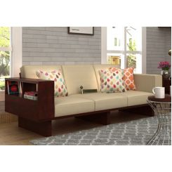 Lannister 3 Seater Wooden Sofa (Cream, Mahogany Finish)
