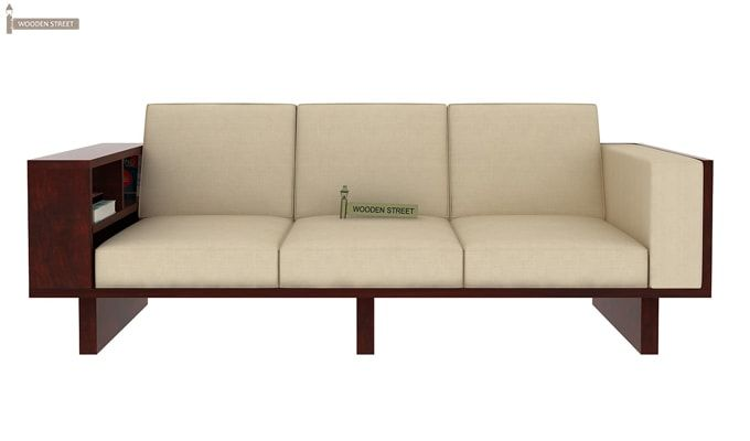 Lannister Wooden Sofa 3+1+1 (Cream, Mahogany Finish)-4