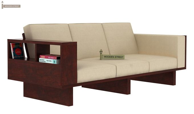 Lannister Wooden Sofa 3+1+1 (Cream, Mahogany Finish)-5