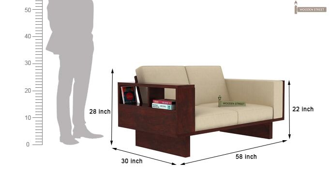 Lannister Wooden Sofa 2+1+1 (Cream, Mahogany Finish)-7
