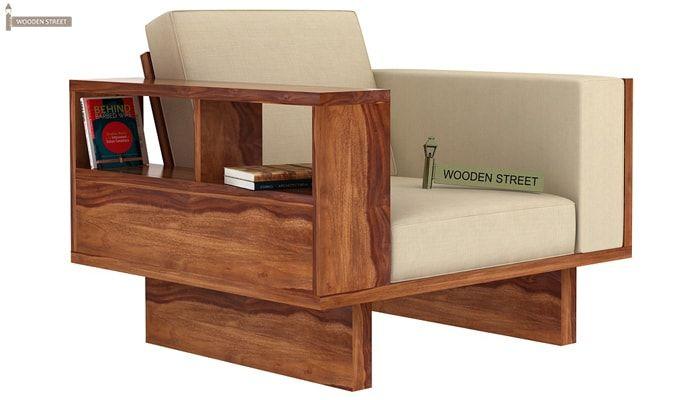 Lannister 1 Seater Wooden Sofa (Cream, Teak Finish)-1