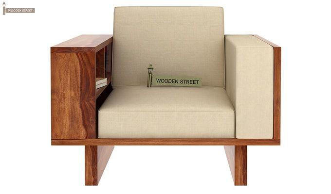 Lannister 1 Seater Wooden Sofa (Cream, Teak Finish)-2