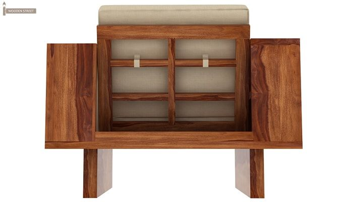 Lannister 1 Seater Wooden Sofa (Cream, Teak Finish)-3