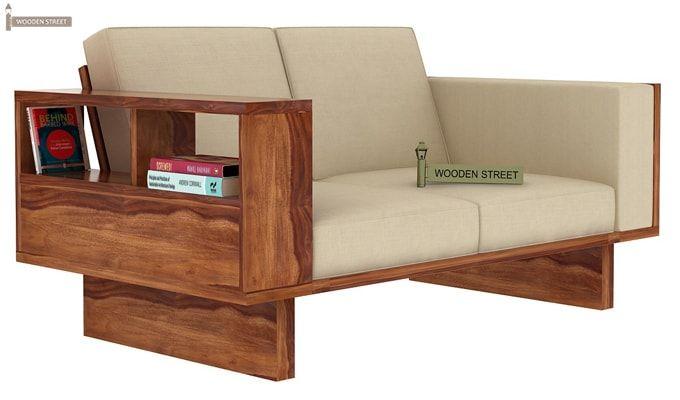 Lannister 2 Seater Wooden Sofa (Cream, Teak Finish)-1