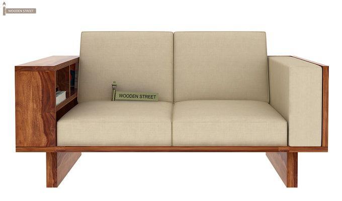 Lannister 2 Seater Wooden Sofa (Cream, Teak Finish)-2