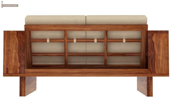 Lannister 2 Seater Wooden Sofa (Cream, Teak Finish)-3