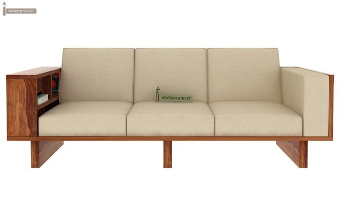 Lannister 3 Seater Wooden Sofa (Cream, Teak Finish)-2