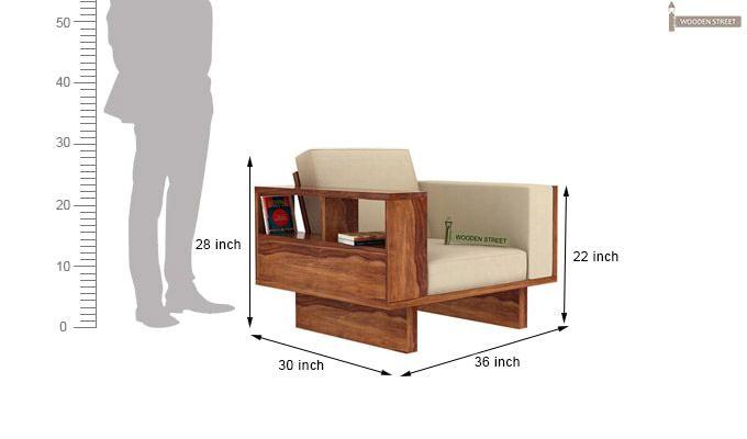 Lannister 1 Seater Wooden Sofa (Cream, Teak Finish)-4