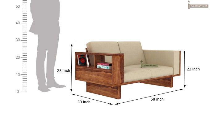 Lannister 2 Seater Wooden Sofa (Cream, Teak Finish)-4
