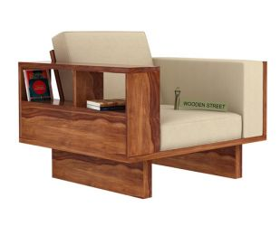 Lannister 1 Seater Wooden Sofa (Cream, Teak Finish)