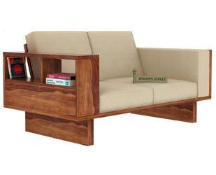 Lannister 2 Seater Wooden Sofa (Cream, Teak Finish)