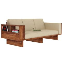 Lannister 3 Seater Wooden Sofa (Cream, Teak Finish)