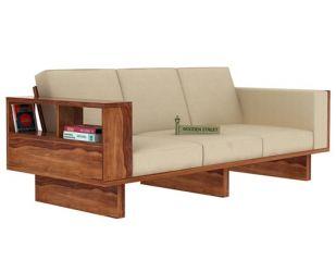 Lannister 3 Seater Wooden Sofa (Cream, Teak Finish)