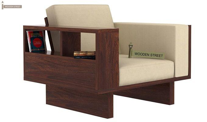 Lannister 1 Seater Wooden Sofa (Cream, Walnut Finish)-1