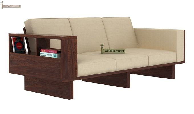 Lannister 3 Seater Wooden Sofa (Cream, Walnut Finish)-1