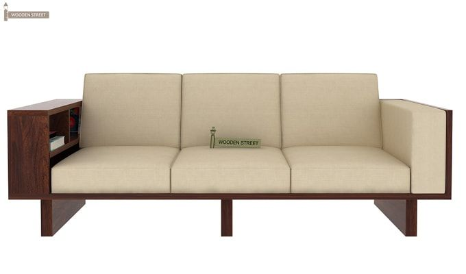 Lannister 3 Seater Wooden Sofa (Cream, Walnut Finish)-2