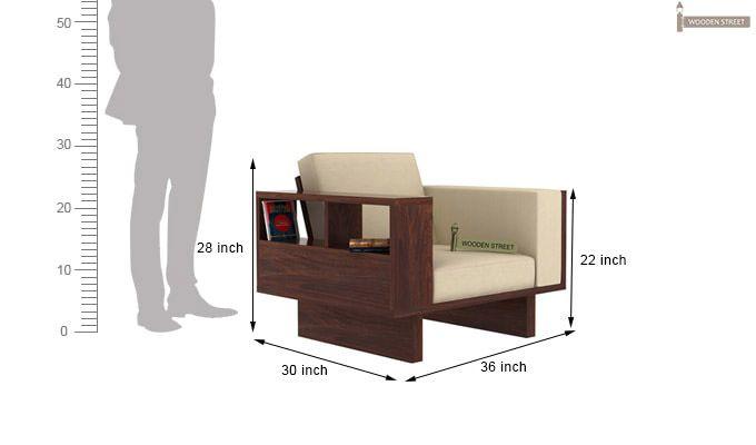 Lannister 1 Seater Wooden Sofa (Cream, Walnut Finish)-4