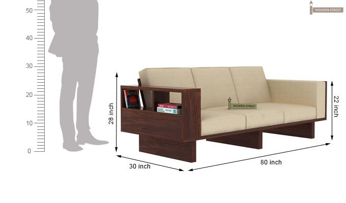 Lannister 3 Seater Wooden Sofa (Cream, Walnut Finish)-4