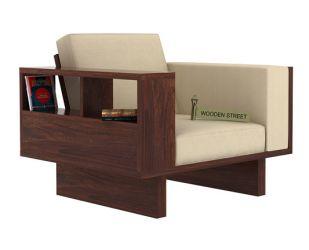 Lannister 1 Seater Wooden Sofa (Cream, Walnut Finish)