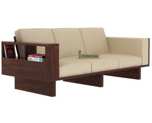 Lannister 3 Seater Wooden Sofa (Cream, Walnut Finish)