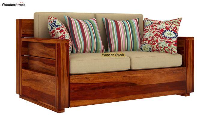 Marriott 2 Seater Wooden Sofa (Honey Finish)-1